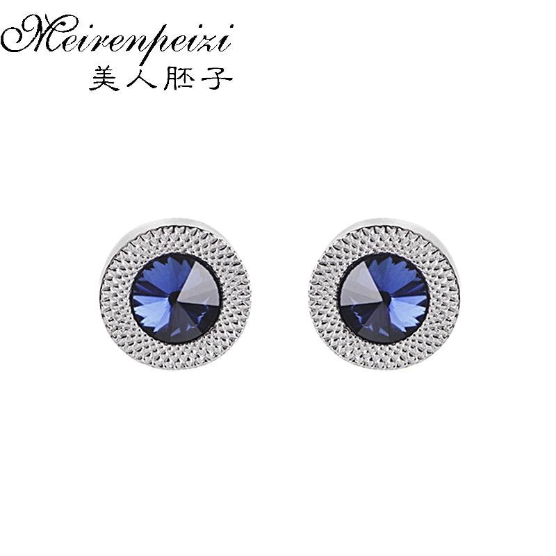 Luxury Cufflinks For Mens Women Blue Zircon Taper Cuff Links Crystal Fashion Brand Cuff Button High Quality Wedding Cuff Links(China)