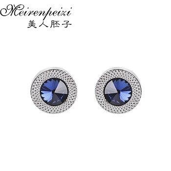 Luxury Cufflinks For Mens Women Blue Zircon Taper Cuff Links Crystal Fashion Brand Cuff Button High Quality Wedding Cuff Links фото
