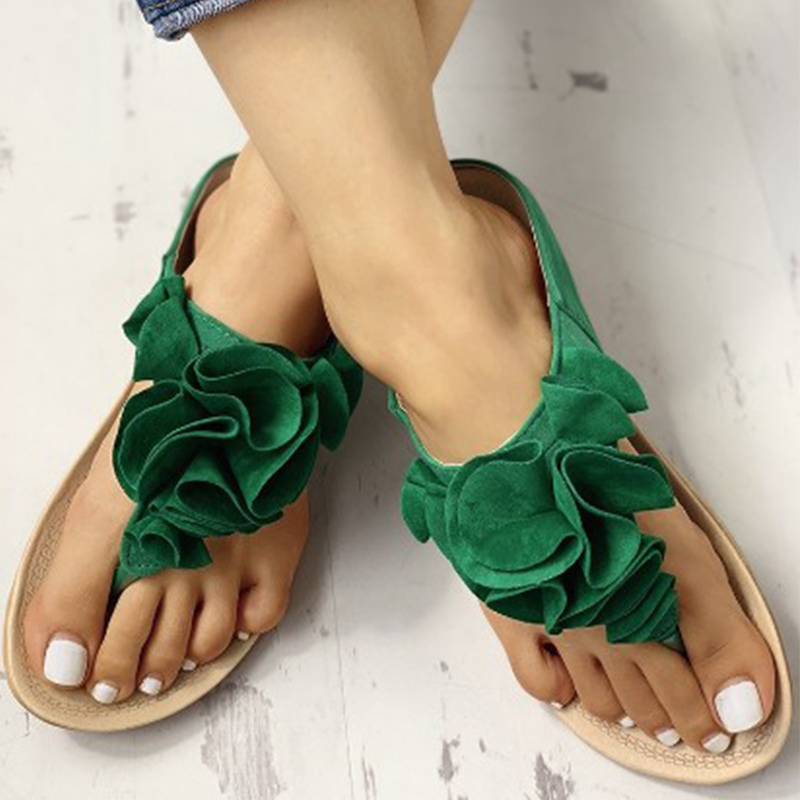2019 New Women Summer Non slip Flats Shoes Floral Solid Flip Flops Woman Outdoor Beach Slippers Sandals sapato feminino P25 in Slippers from Shoes