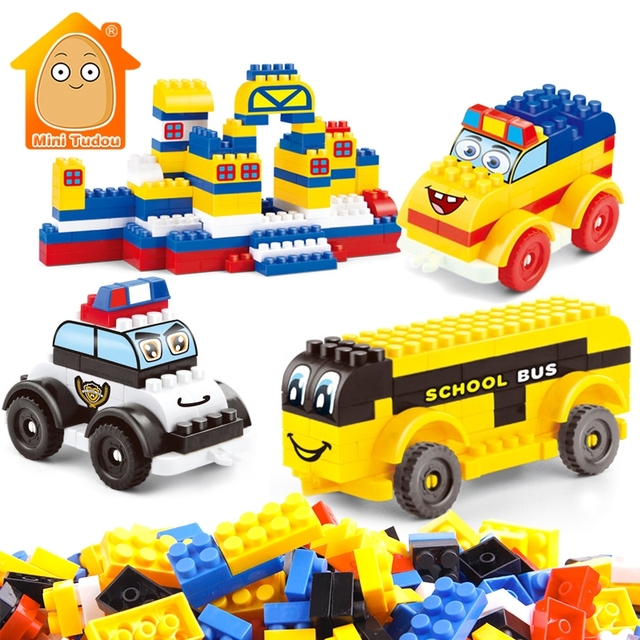 320PCS-600PCS Small Building Blocks Cartoon Police Cars Bricks Toys With Sticker Best Educational Gift For Kids Children