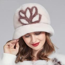 Winter nieuwe mode vrouwen hoed, hoge kwaliteit nertsen bont hoeden vrouwen, warm winter emmer hoed fedora vissen hoed 18612