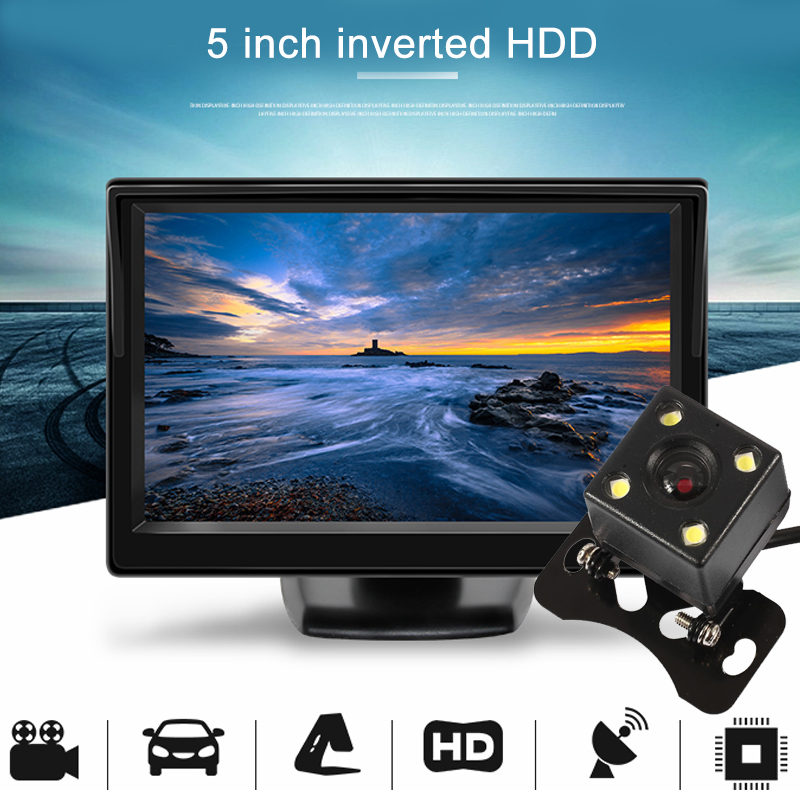 VEHEMO Car Monitor Reverse Display 5Inch with Rear View Camera Parking 800*480 TFT LCD HD Screen Security Alarming Car Styling