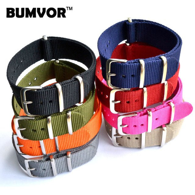 1pcs 16 18 20 22 24mm Multiple Colors Nato Nylon Military Watch Strap Army Sport