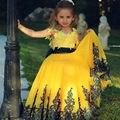 Прекрасный желтые свадебные платья с кружева аппликация бальные платья 2016 театрализованное платье первого причастия платья для девочек