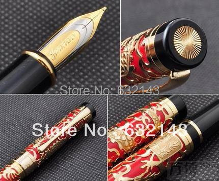 JINHAO 5000 red M nib fountain pen dragon embossed 2 pcs jinhao two dragon play pearl brass broad nib fountain pen roller ball pen set