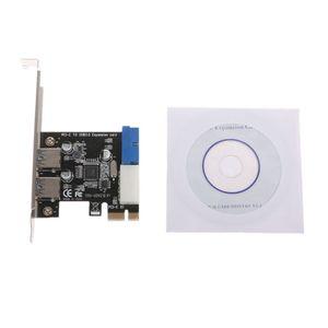2 портами плата PCI Express USB 3,0 передняя панель с адаптером для карт управления 4-контактный и 20-контактный совершенно новый Прямая поставка