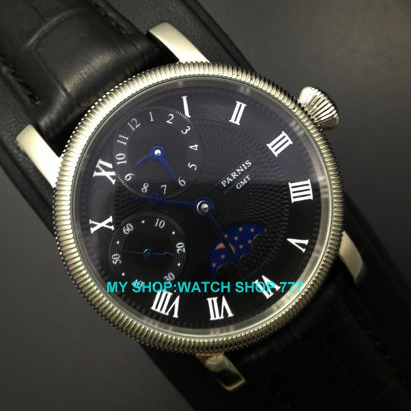 PARNIS 44mm Mechanical Hand Wind movement men s watch Fashion watches 2016 new fashion moon phase