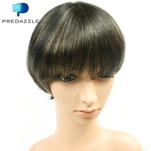 Brazilian Straight Hair Glueless None Lace Hot Short Virgin Hair Wigs with Bang 8Inch1B Gloden Short Ombre Best Human Hair Wigs