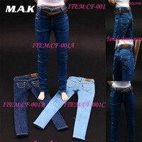 1/6 Escala do Sexo Feminino Skinny Jeans Calças 3 cores para 12 polegadas Figuras de Ação Mulher Roupas