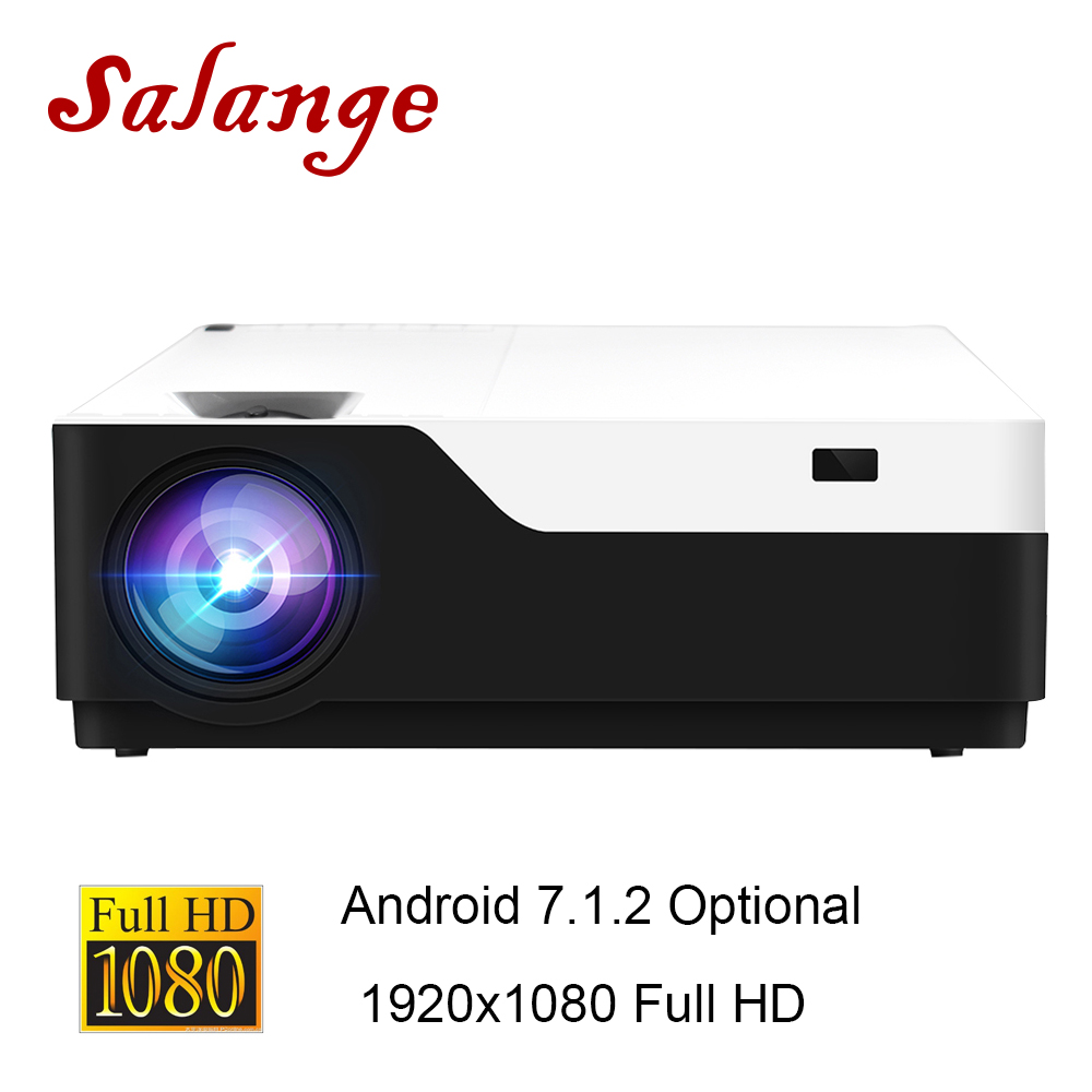 Salange Full HD Projector <font><b>M18</b></font>,Real 1920x1080 200 inch Android 7.1 HDMI USB Proyector For Game Movie Home Theater Support AC3 image