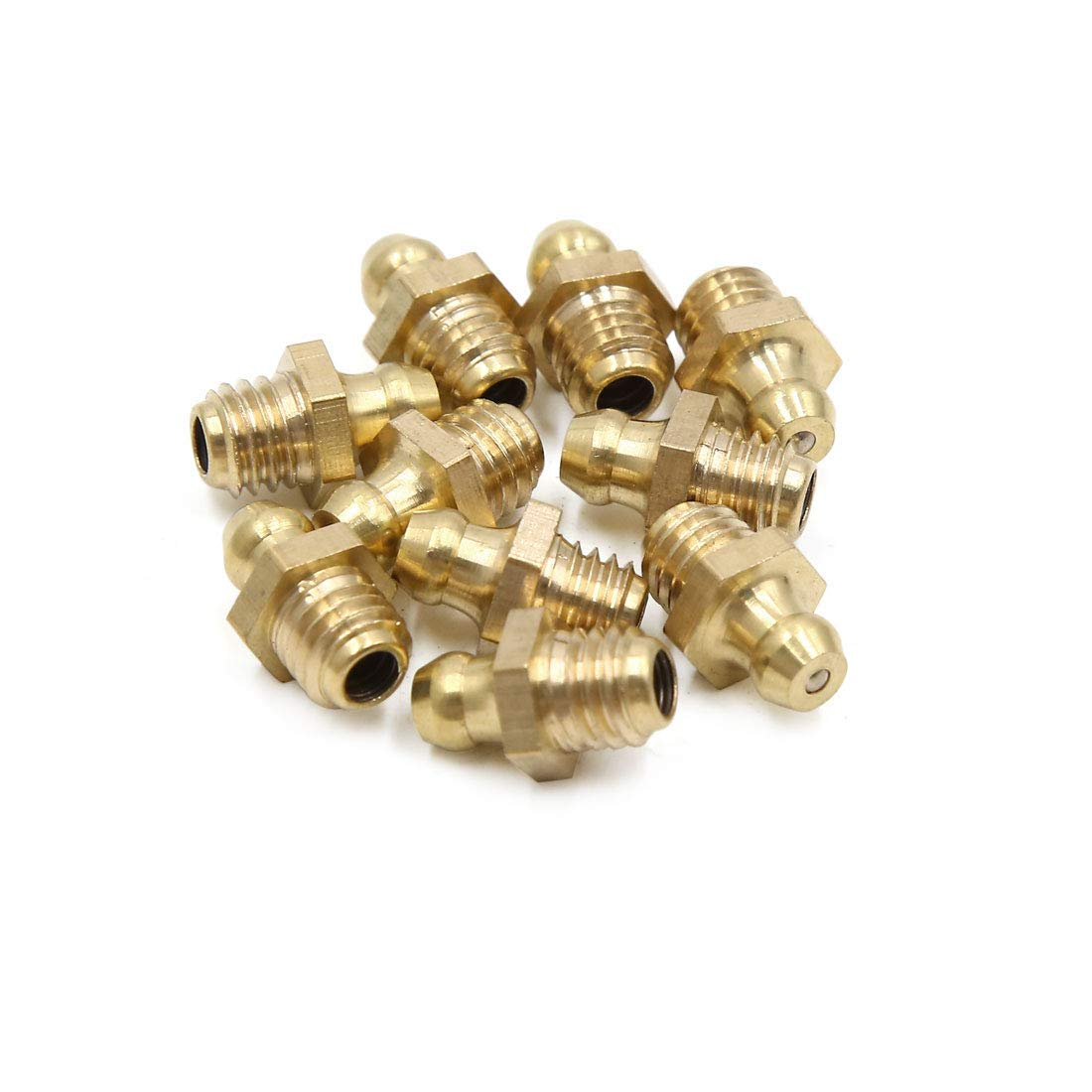 Uxcell 10pcs M8 X 1.25 Thread Brass Straight Grease Nipple Fitting For Car