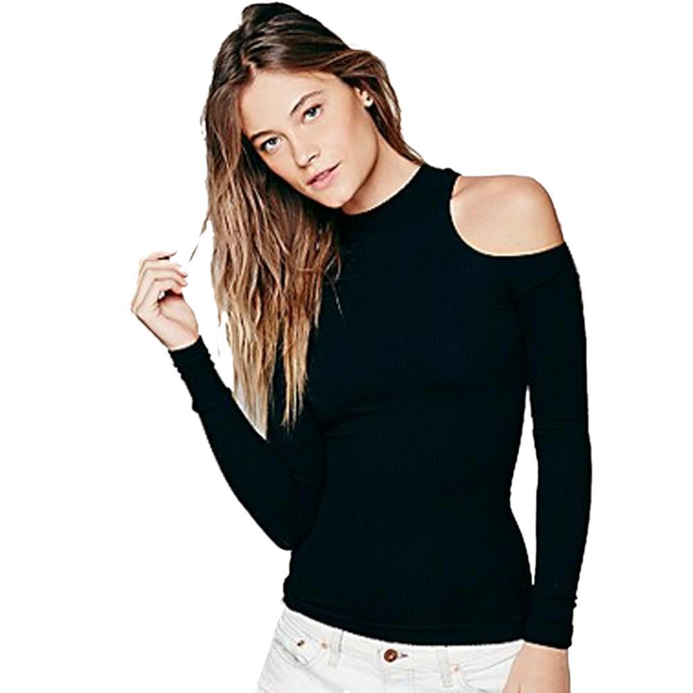 c35a001adcf8f8 Online Shop ladies top Cut Out Black Blouse Off The Shoulder Tops For Women  Spring Shirt Blouse Cold Shoulder Long Sleeve Women Tops Stretch