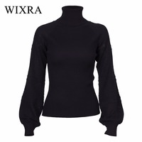 Wixra Warm And Charm Winter 2017 Women S Knitted Turtleneck Sweater Hollow Out Pullover Long Lantern
