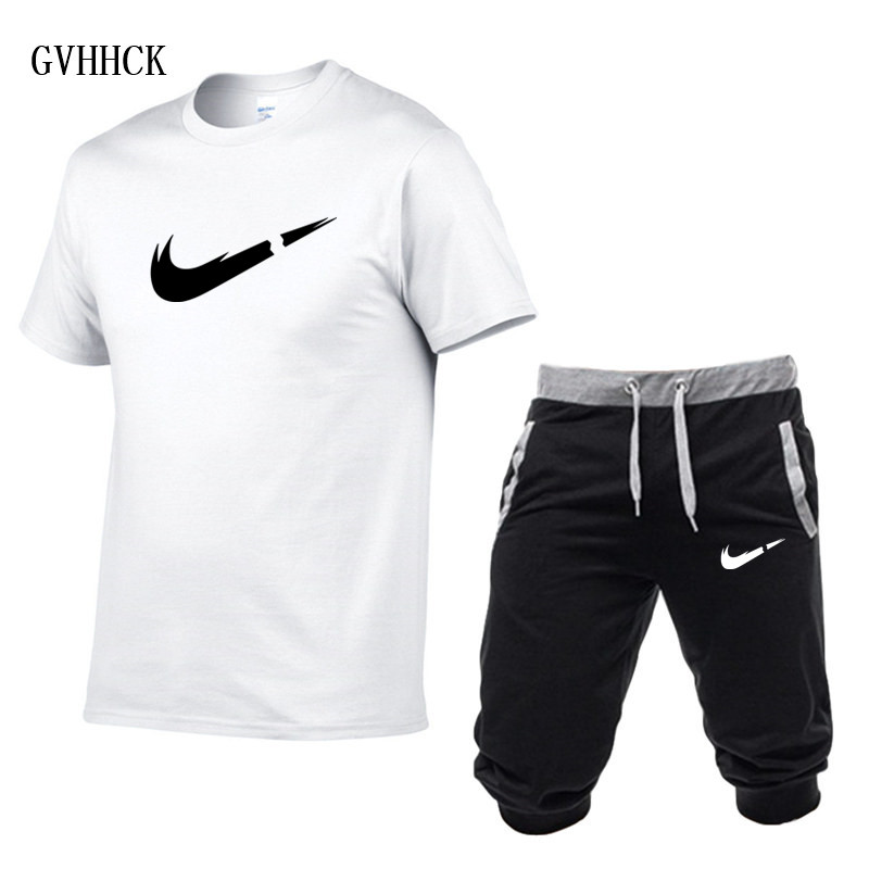 HTB1.ceLPxnaK1RjSZFtq6zC2VXaK Summer New Tracksuit Men Shorts Casual Men's Sportswear Suit Shorts Brand Clothing Two Pieces Top Tee+Shorts Sweat Suits 2019