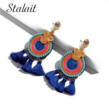 Ethic Handmade Beaded Round Tassel Earrings For Female Colorful Ribbon Fringe Birthday Gift