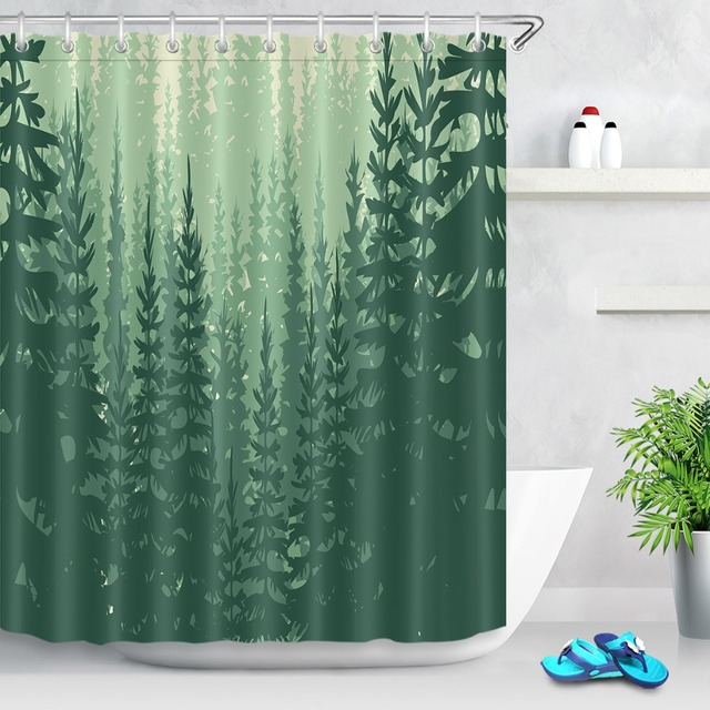 LB 180180 Cm Woods Green Rain Forest Shower Curtain With 12 Hooks Waterproof Polyester Bathroom Curtains For Home Bath Decor