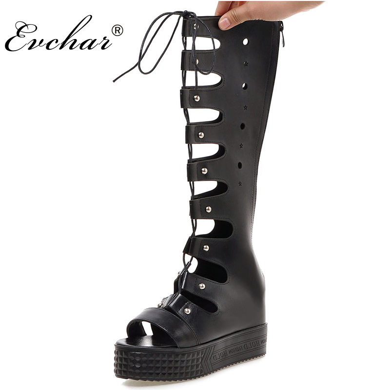 Fashion Gladiator Sandals Women height increasing Cut outs  Knee High Rome Sandals Boots Summer Shoes Woman large big size 32-43 women sandals 2017 summer style shoes woman wedges height increasing fashion star gladiator platform female ladies shoes casual