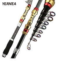 Yernea Short Sea Fishing Rods Fiber Telescopic Fishing Rod  99% Carbon 1.8-3.6M Spinning Telescopic Fishing Tackle Spinning Rod недорого
