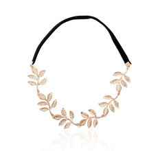 Fashion 1PC Elegant Woman Vintage Gold Color Alloy Leaf Elastic Hair Band Accessories Hot