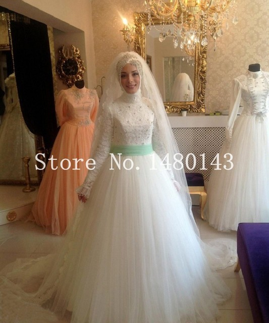New White Ivory Lace Hijab Muslim Wedding Dresses Applique Long ...