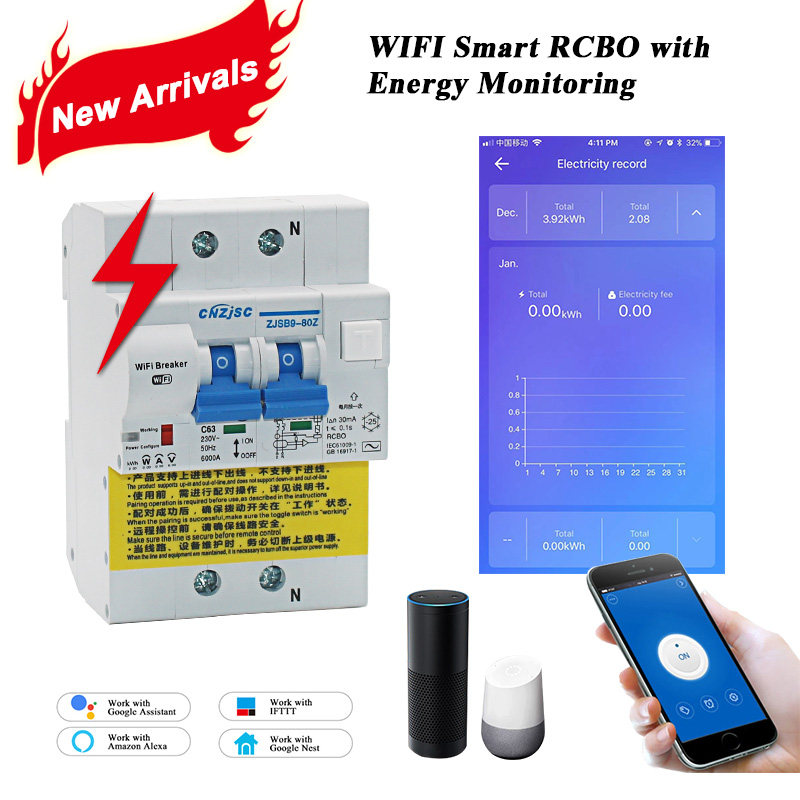 WIFI Smart RCBO residual current circuit breaker with Energy Monitoring compatible with Amazon Alexa Google Home