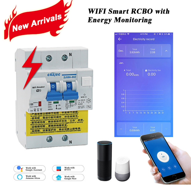 WIFI Smart RCBO Earth Leakage circuit breaker with Energy Monitoring compatible with Amazon Alexa ,Google Home for Smart Home