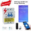 Wifi Smart RCBO выключатель остаточного тока с контролем энергии, совместимый с <font><b>Amazon</b></font> Alexa, Google Home для умного дома