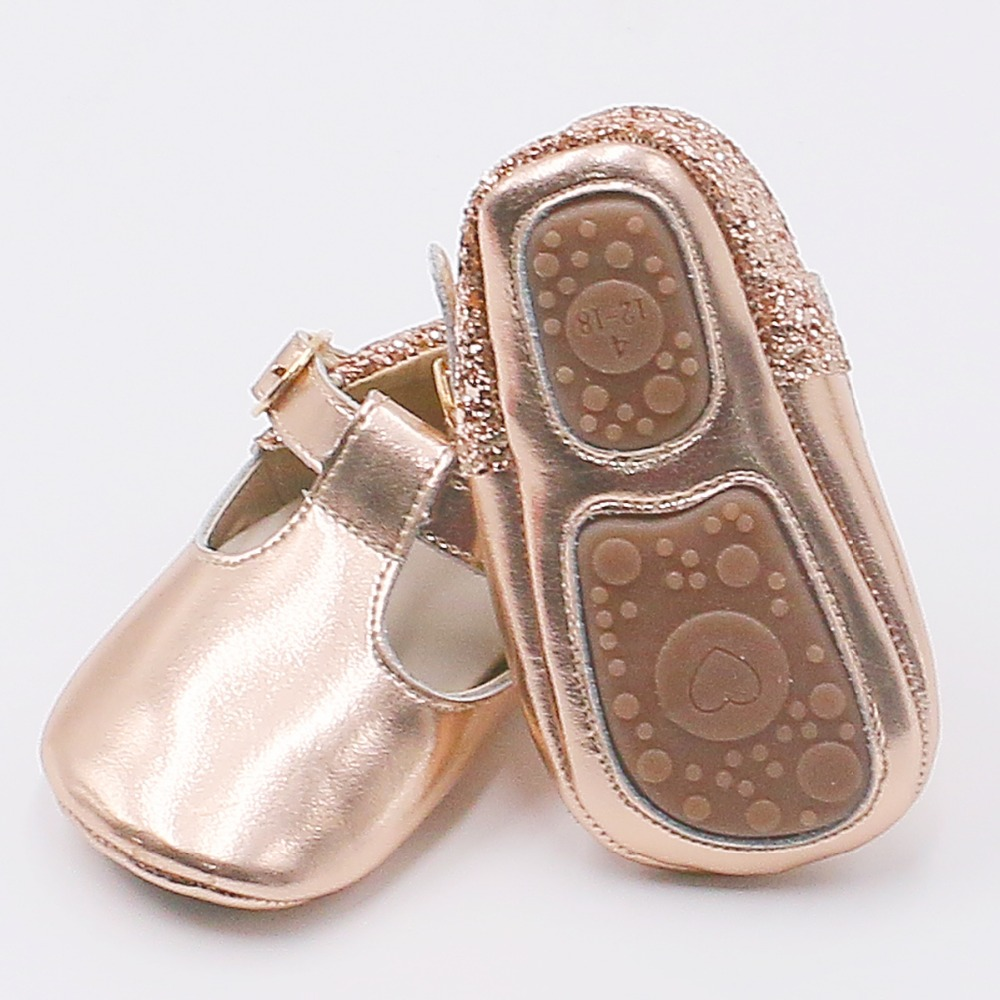 Rose Gold Sequin Baby Girls Shoes Bling Glitter Ballet Flats Shoes Princess Mary Jane T-bar Shoes For Wedding Party Dress Shoes