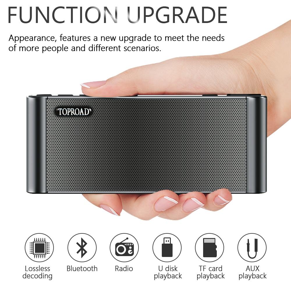 TOPROAD HIFI Bluetooth Speaker Portable Wireless Super Bass Dual Speakers Soundbar with Mic TF FM Radio USB Sound Box 2