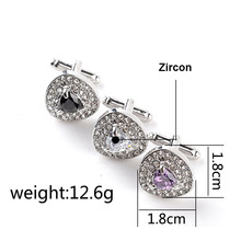 Luxury Crystal Cufflinks Buttons In Gold Silver Color For Mens Shirts Business Lawyer Cuff Links Gemelos Jewelry Gifts