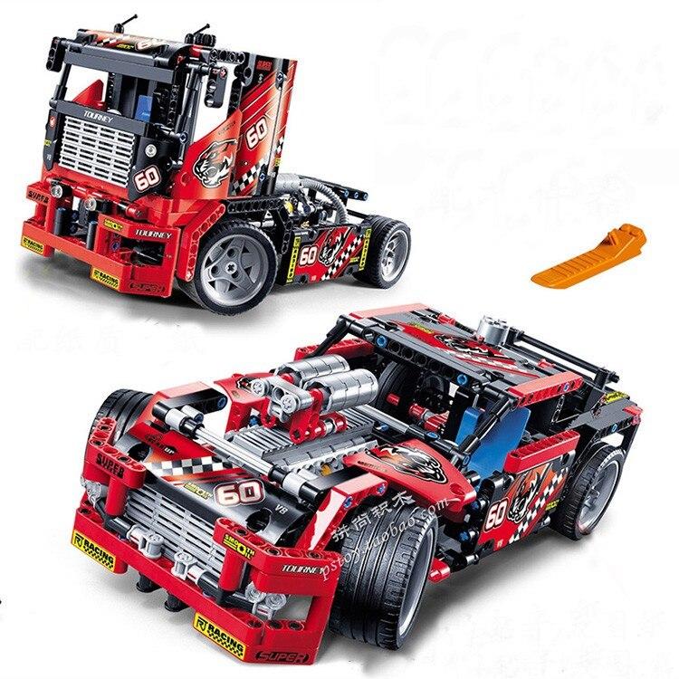 608 pcs Corrida de Caminhão Do Carro 2 Em 1 Modelo Transformable Brinquedos Conjuntos de Blocos de Construção Decool 3360 DIY Compatível Com Legoe Technic