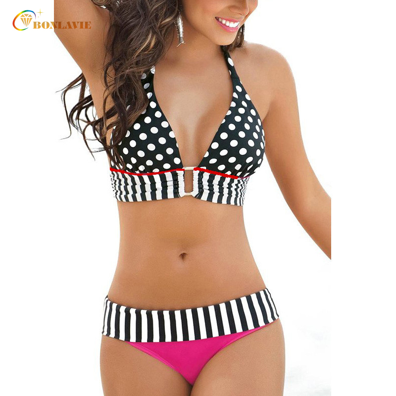 New Dot Low Waist Bikini Set Women Plavky Swimwear Bathing Sexy Elasticity Printed Swimming Suit Beach Wear 2017 Summer sexy women bikini set summer knitting design hollow women low waist bikini cotton wire free swimwear