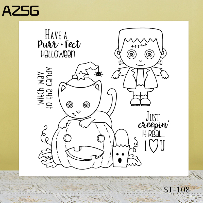 AZSG Pumpkin Zombie Silicone Clear Stamps Seal For DIY Scrapbooking Decorative Card Making Craft Fun Decoration Supplies in Stamps from Home Garden