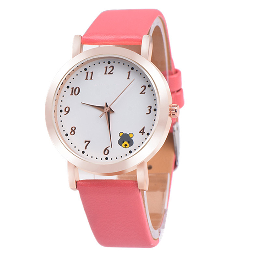 Casual Ladies Watches Quartz Wristwatch Fashion Cartoon Cat Leather Quartz Analog Women Watch 4
