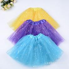 Chiffon Tutus Skirt for Baby Girls Pettiskirt Kids Princess tutu Mesh Sequin Stars 3 Layers Tulle Toddler Dance Skirts
