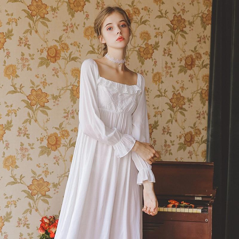 Vintage Night Dress Autumn Women Sleepwear White Cotton Homewear Square Collar Sleepdress Long Sleeve   Nightgown     Sleepshirts