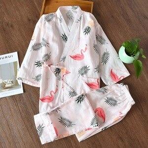 Image 3 - Peignoir dété frais pour femmes, kimono japonais, ensembles de robes simples, pyjama yukata, en gaze, 100%