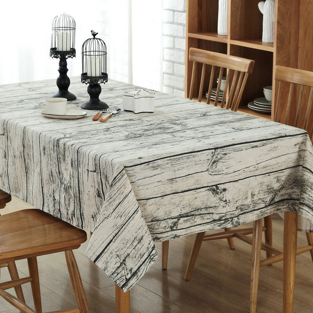 Charmant Retro Wood Grain Striped Table Cloth Cotton Linen Fabric Grey Square  Tablecloth Kitchen Party Home Decoration