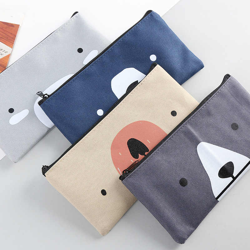 Cute bear canvas B6 Pencil Bag Stationery Storage Organizer Bag School Supply Student Prize