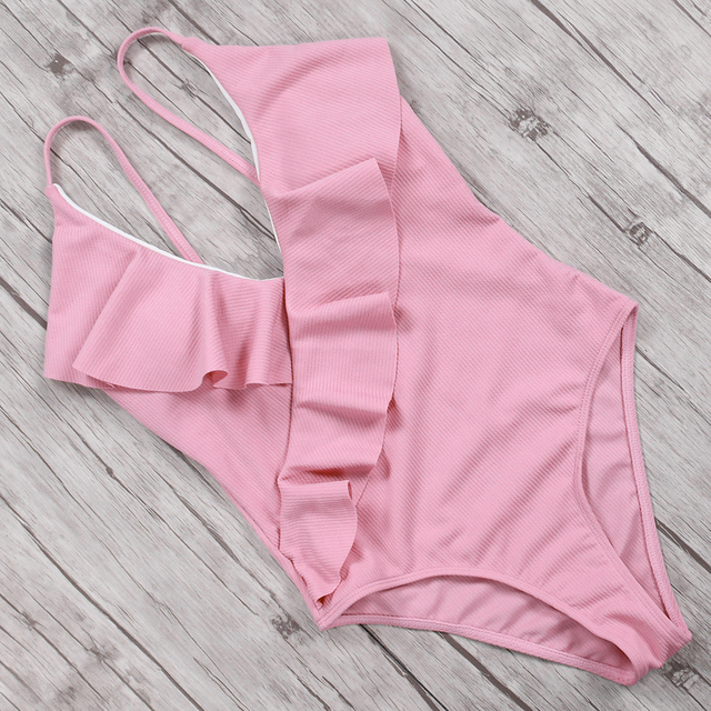 One Pieces Swimsuit Women Ruffle Sexy Bathing Suit Monokini Backless Swimming Bodysuit maillot de bain femme 2018 Solid Swimwear