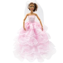 1PCS Elegant Pink Lace Wedding Dress with Veil for Barbie Doll Clothes Accessories Play House Dressing Up Costume Kids Toys Gift leadingstar 20 pcs lot pink hangers dress clothes accessories for barbie doll pretend play new year girls gift zk15