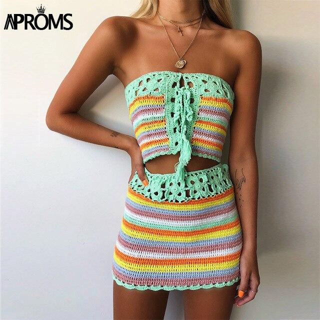 Aproms Sọc Nhiều Màu Dây Móc Ống Crop Top và Chân Váy Đi Biển Mùa Hè Nữ 2 Bộ Váy Đầm Bikini Đi Biển