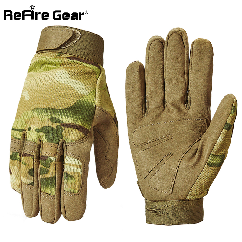 ReFire Gear Army Camouflage Tactical Gloves Men Breathable Multicam Paintball Military Gloves Bicycle Shoot Full Finger Gloves