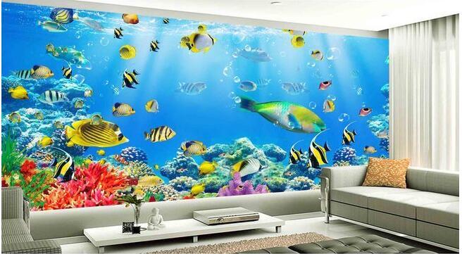 Us 1491 48 Off3d Wallpaper Kustom Foto Non Woven Mural Dinding Stiker 3 D Ikan Karang Bawah Air Dunia Lukisan 3d Dinding Kamar Mural Wallpaper In