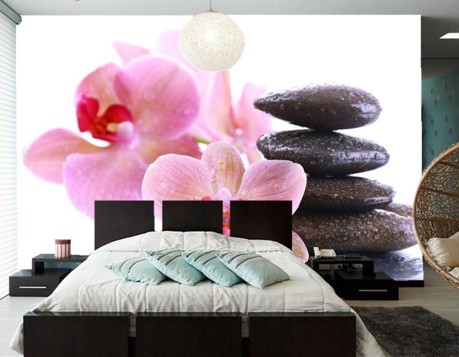 Custom stones Orchid Closeup Flowers photo 3d wallpaper,livng room ...