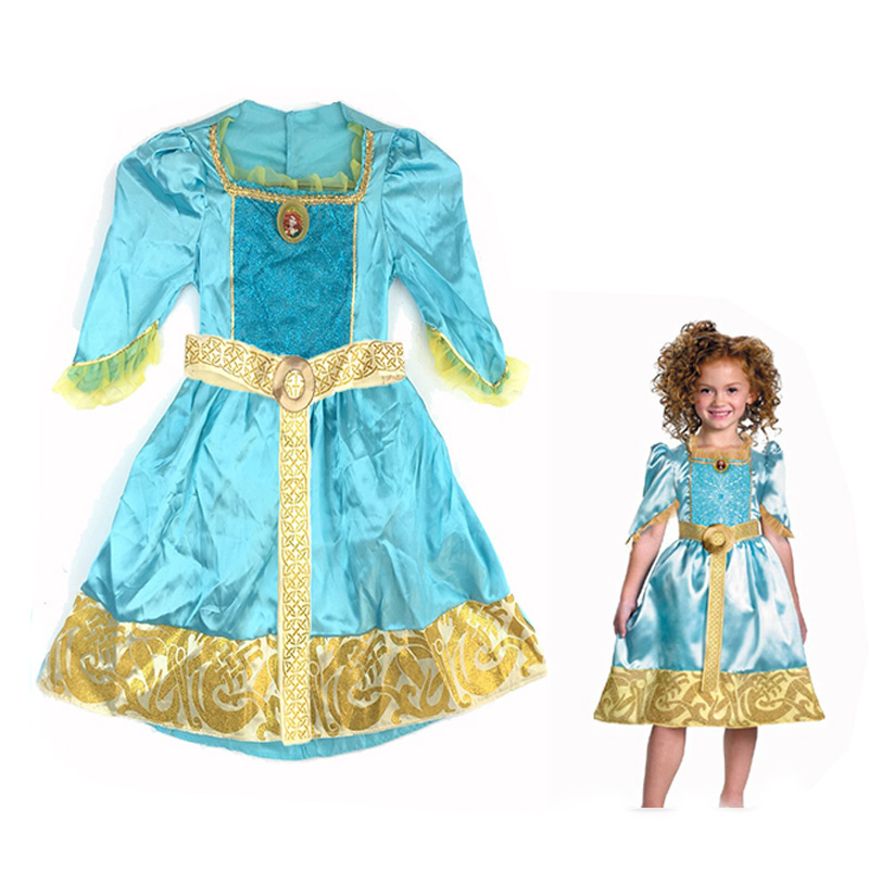متشابكة رابونزيل شجاع ميريدا الأميرة زي فستان بتصميم حالم لفتاة الكرتون فيلم زي