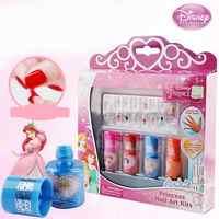 18pcs/set Kid Nail Polish Disney Princess Set 4 Color Nail Art Paste Water Soluble Peelable Color Fast Play House Manicure Toy