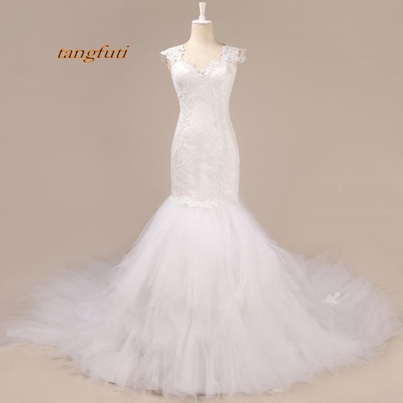 Long Train Wedding Dresses Mermiad V Neck Appliques Lace Sleeveless Women Bride Bridal G ...