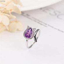 gemstone fine jewelry factory wholesale 7mm oval shape 925 sterling silver natural amethyst purple crystal ring for women цена в Москве и Питере
