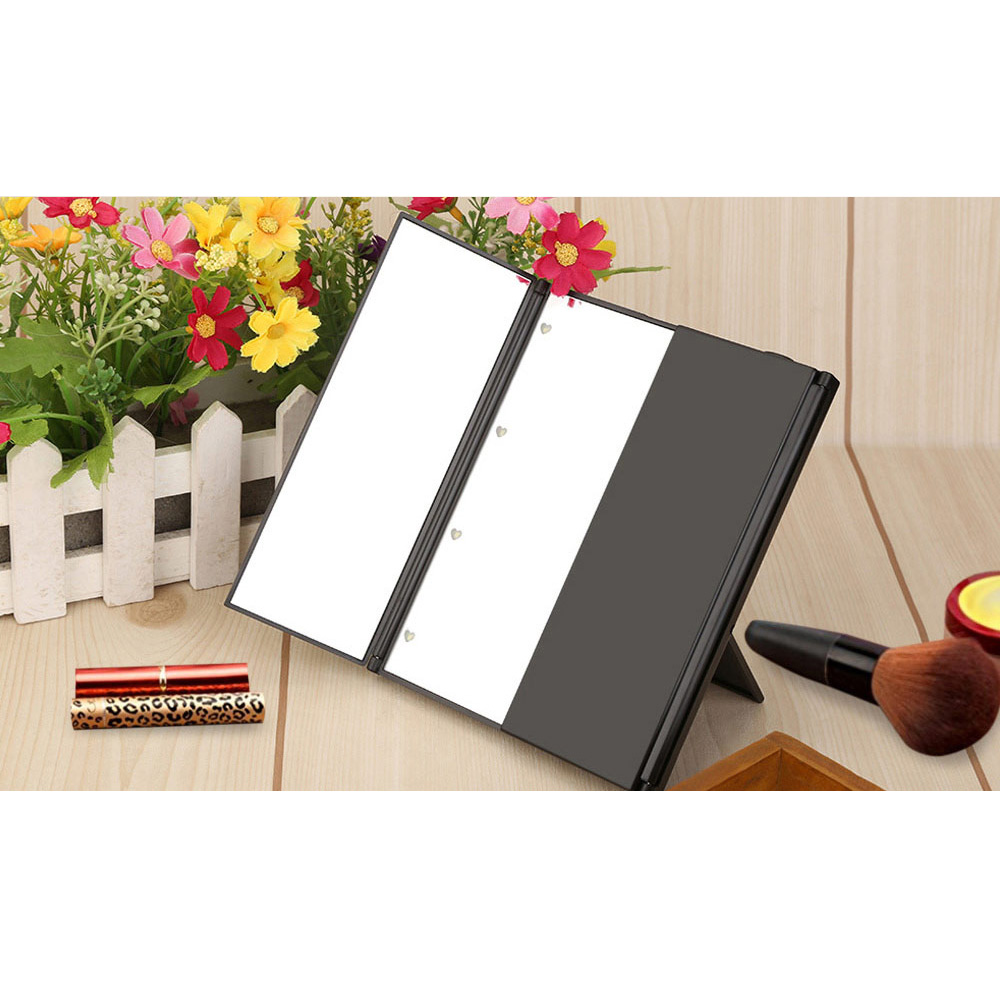 Professional LED Makeup Mirror Portable Three Sides Folding Table LED Lamp  Luminous Makeup Mirrors For Desktop